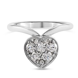 Swarovski Zirconia Main Stone With Surrounding Stone Ring in Platinum Overlay Sterling Silver 1.45 c
