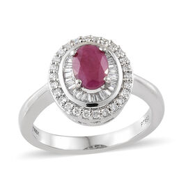 RHAPSODY 1.35 Ct Burmese Ruby and Diamond Double Halo Ring in 950 Platinum 7.18 Grams