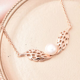 RACHEL GALLEY - Freshwater White Pearl Feather Necklace (Size 24)  in Rose Gold Overlay Sterling Silver