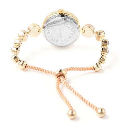 2 Piece Set - GENOA Japanese Movement Vintage Rose Swarovski Crystal Studded Water Resistant Bracelet Watch and Adjustable Bolo Bracelet (Size 6-9.5) in Yellow Gold Tone