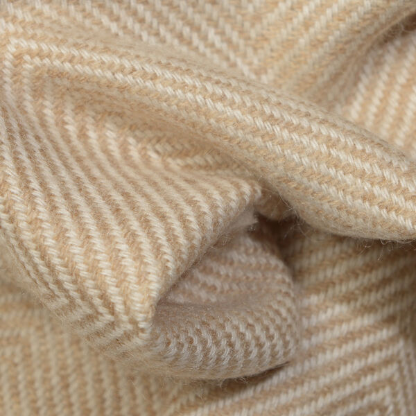 Close Out Deal- Cashmere Wool Throw Blanket  (Size 260x140 Cm) -  Beige