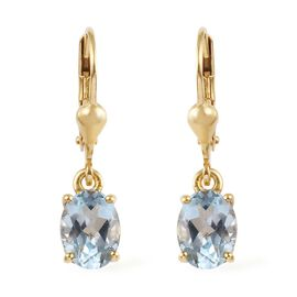 Sky Blue Topaz (Ovl) Earrings in 14K Gold Overlay Sterling Silver 2.75 Ct.