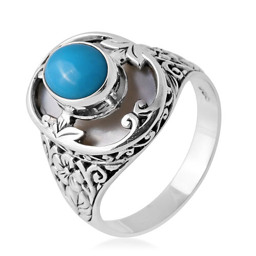 Arizona Sleeping Beauty Turquoise (Ovl 1.69 Ct), Mother of Pearl Ring in Sterling Silver 9.190 Ct. Silver wt 9.19 Gms.