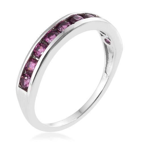 Purple Garnet (Rnd) Half Eternity Band Ring in Platinum Overlay Sterling Silver 1.000 Ct.