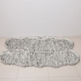Luxury Edition - Faux Sheep Skin Rug (Size 180x100 Cm) - White and Grey