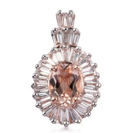 1.01 Ct Marropino Morganite and Zircon Halo Pendant in Rose Gold Plated Sterling Silver