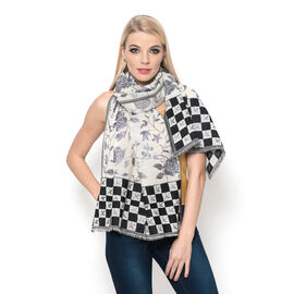 100% Merino Wool Floral, Leaves and Checks Pattern Black, Grey and Beige Colour Shawl  (Size 185x65