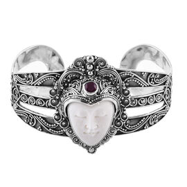 Princess Bali 0.87 Ct OX Bone Carved Face and African Ruby Cuff Bangle in Silver 41.20 Grams 7 inch