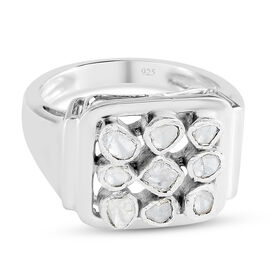 Artisan Crafted - Polki Diamond Ring in Platinum Overlay Sterling Silver 0.33 Ct, Silver wt. 5.50 Gm