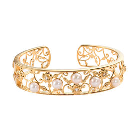 Freshwater Pearl and White Topaz Cuff Bangle (Size 7.5) in 18K Yellow Gold Plated