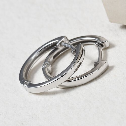 Sundays Child- Platinum Overlay Sterling Silver Hoop Earrings with Clasp