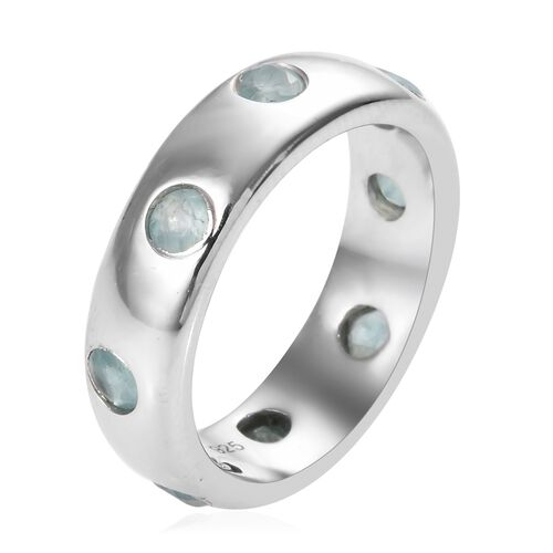 Grandidierite (Rnd) Band Ring in Platinum Overlay Sterling Silver 1.00 Ct, Silver wt 5.25 Gms