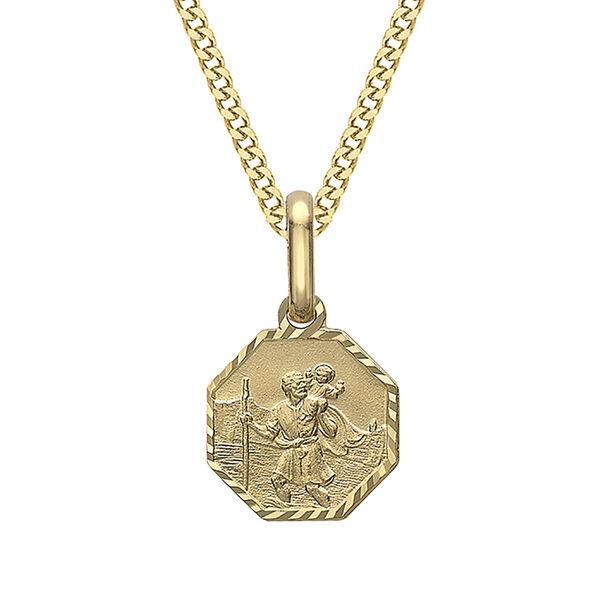 9K Yellow Gold Diamond Cut Octagonal St Christopher Pendant
