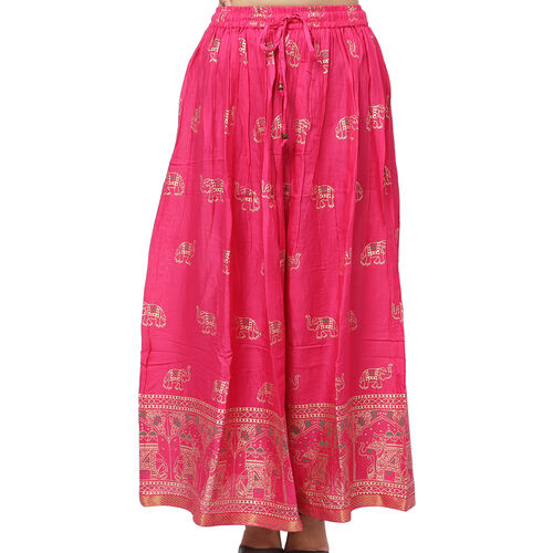 Floral Block Printed Long Skirt (One Size) - Fuchsia