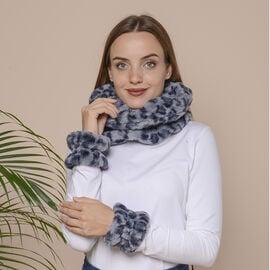 2 Piece Set - Leopard Skin Pattern Faux Fur infinity Scarf (Size 32x24cm) and Hand Cuffs (Size 9.5x1