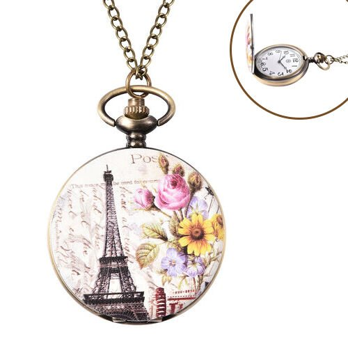 STRADA Japanese Movement Eiffel Tower Pattern Pocket Watch with Chain (Size 31) in Antique Bronze To