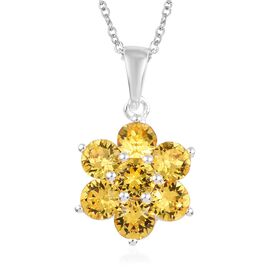 J Francis - Crystal from Swarovski Light Colorado Topaz Crystal (Rnd) Floral Pendant with Chain (Siz