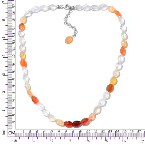 Extremely Rare Size Fire Opal (Ovl) Necklace (Size 18 with 2 inch Extender) in Platinum Overlay Sterling Silver 85.500 Ct.