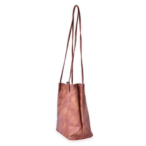 Designer Inspired Estella Chocolate Colour Large Size Tote Bag (Size 30x28x15 Cm)
