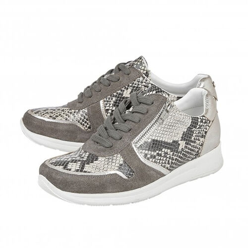 Lotus Stressless Grey Suede & Snake Leather Shira Casual Trainers (Size 5)