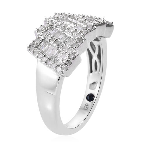 GP Diamond (Rnd and Bgt), Blue Sapphire Ring in Platinum Overlay Sterling Silver 0.775  Ct.