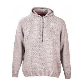 Aran Woollen Mills Merino Wool Hooded Jumper Oat