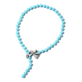 Turquoise Colour Shell Pearl (Rnd) Necklace (Size 16 to 18 Adjustable) with Openable Bow Lock in Sil