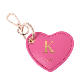Pink Genuine Leather Heart Shaped Initial K Key Chain (7x6cm)