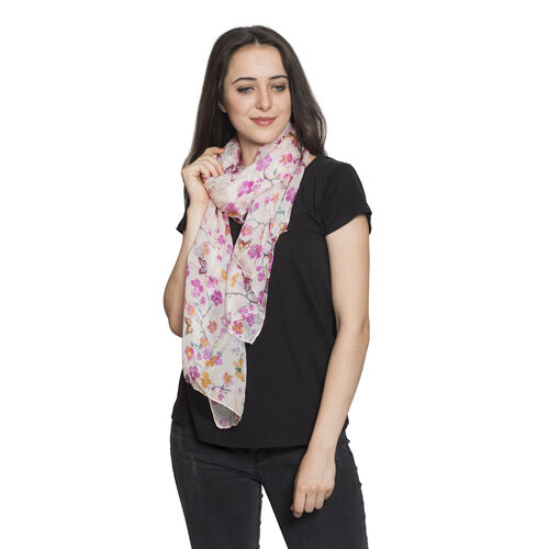 100% Mulberry Silk Marshmallow Colour Floral and Butterfly Pattern Stole (Size 180x50 Cm)