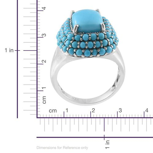 Arizona Sleeping Beauty Turquoise (Cush 3.75 Ct) Ring in Platinum Overlay Sterling Silver 6.750 Ct.