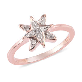 Diamond Starburst Ring in Rose Gold Overlay Sterling Silver 0.05 Ct.