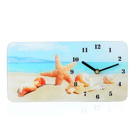 Glass Table Clock - Sea Shore (Size 30x15x4 Cm)