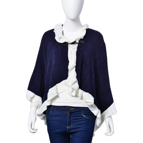 Designer Inspired - Navy and White Colour Poncho (Size 100x50 Cm)
