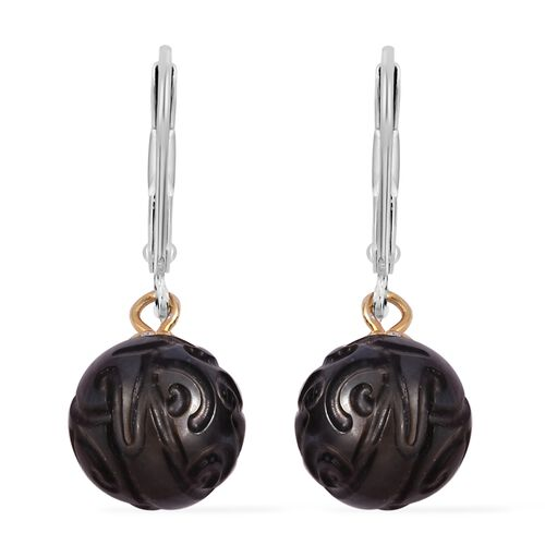 Hand Carved Tahitian Pearl (Rnd 10-11mm) Lever Back Earrings in Two Tone Sterling Silver