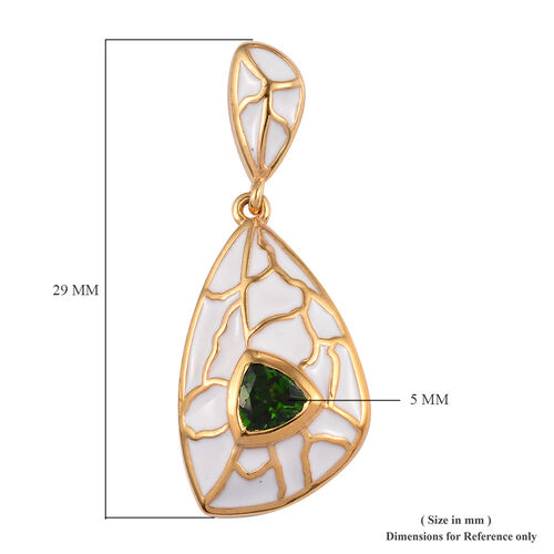 Russian Diopside Enamelled Earrings (with Push Back) in 14K Gold Overlay Sterling Silver 1.00 Ct, Silver wt 6.55 Gms