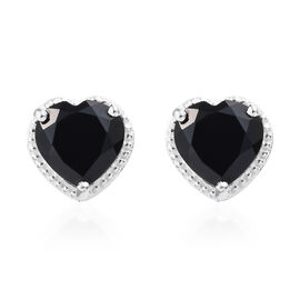 Boi Ploi Black Spinel (Hrt) Stud Heart Earrings (with Push Back) in Sterling Silver 6.500  Ct.