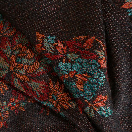 Black, Brown and Multi Colour Floral and Paisley Pattern Reversible Jacquard Scarf with Tassels (Size 190X70 Cm)