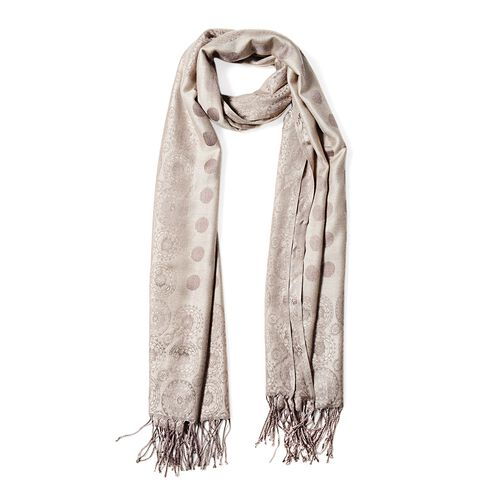 Light Coffee Colour Scarf with Dot and Small Flower Pattern (Size 180x68 Cm)