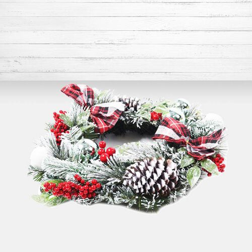 Christmas Decoration Wreath, Pine Nut, Ribbon, Balls and Cherry (Size: 30cm) - Red