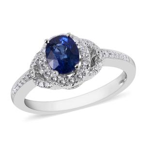 ILIANA 18K White Gold AAAA Royal Ceylon Sapphire and Diamond (SI/G-H) Ring 1.25 Ct.