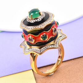 GP - Verde Onyx, Amethyst and Blue Sapphire Enamelled Cake Ring 14K Gold Overlay Sterling Silver 2.02 Ct, Silver wt. 10.00 Gms