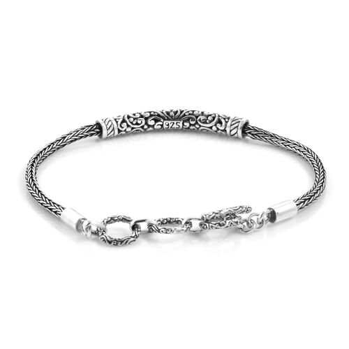 Royal Bali Collection Sterling Silver Tulang Naga Bracelet (Size 7 inch - 8 inch with Extender), Silver wt 10.00  Gms.