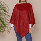 Striped Design Soft Faux Fur Poncho (Size 100x84 cm) - Burgundy
