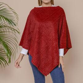Striped Design Soft Faux Fur Poncho (Size 100x84 cm) - Burgundy