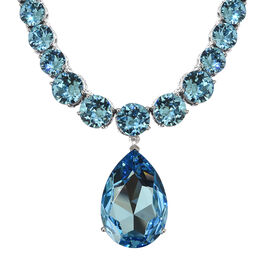 J Francis Crystal from Swarovski - Aquamarine Colour Crystal (Pear 30x20 mm) Necklace with Chain (Size 18) in Platinum Overlay Sterling Silver, Silver wt 27.75 Gms.