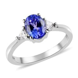 RHAPSODY 1.30 Ct AAAA Tanzanite and Diamond Solitaire Ring in 950 Platinum 4.50 Grams VS EF