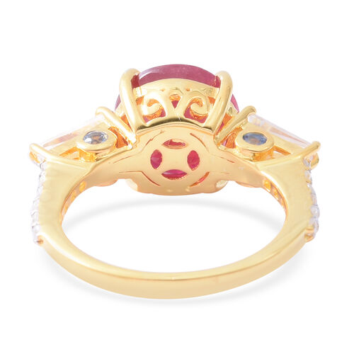 African Ruby (Rnd 5.55 Ct), Natural White Cambodian Zircon and Madagascar Blue Sapphire Ring in Yellow Gold Overlay Sterling Silver 6.750 Ct.