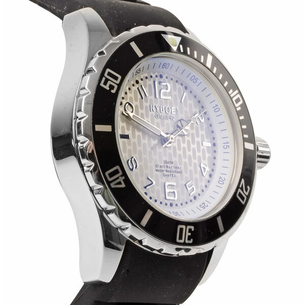 KYBOE Power Collection - Japanese Movement 100M Water Resistant Silver Shine LED Watch in Stainless Steel with Rotating Bezel and Black Strap - 40MM