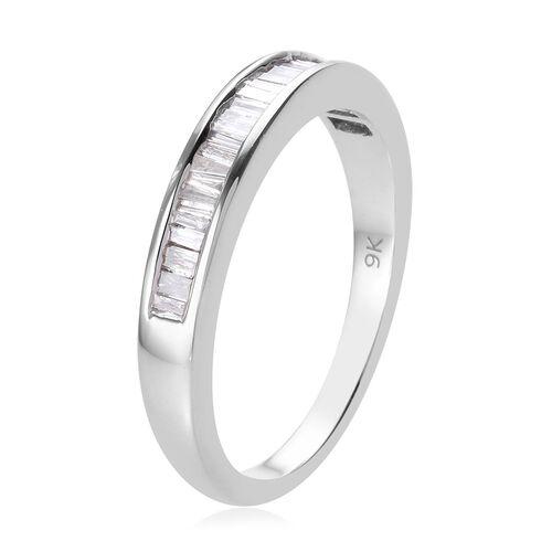 9K White Gold SGL Certified Diamond (I2-I3/G-H) Half Eternity Ring 0.50 Ct, Gold wt. 3.70 Gms
