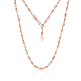 Designer Inspired- Rose Gold Overlay Sterling Silver Adjustable Twisted Singapore Diamond Cut Chain